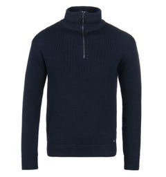 Armor Lux Chateaulin Navy Zip Neck Woollen Sweater