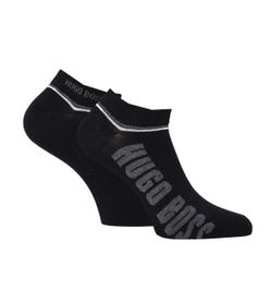 BOSS Bodywear 2 Pack Black Contrast Stripe Logo Trainer Socks