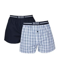 BOSS Bodywear 2 Pack Navy Check Woven Boxer Shorts
