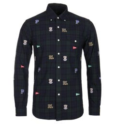 Polo Ralph Lauren Slim Fit Varsity Patch Black Watch Shirt