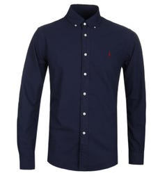 Polo Ralph Lauren Garment Dyed Navy Slim Fit Oxford Shirt
