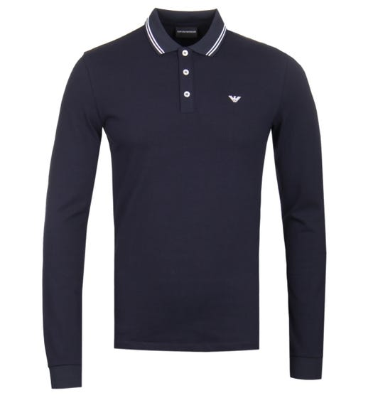 Emporio Armani Long Sleeve Navy Tipped Polo Shirt