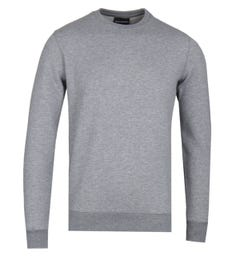 Emporio Armani Grey Marl Cotton Blend Logo Sweatshirt