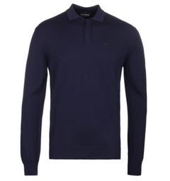Emporio Armani Navy Long Sleeve Knitted Polo Shirt