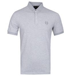Armani Exchange Mesh Collar Grey Polo Shirt