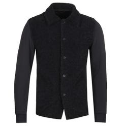 Barena Lanosa Black Fleece Button Up Sweatshirt