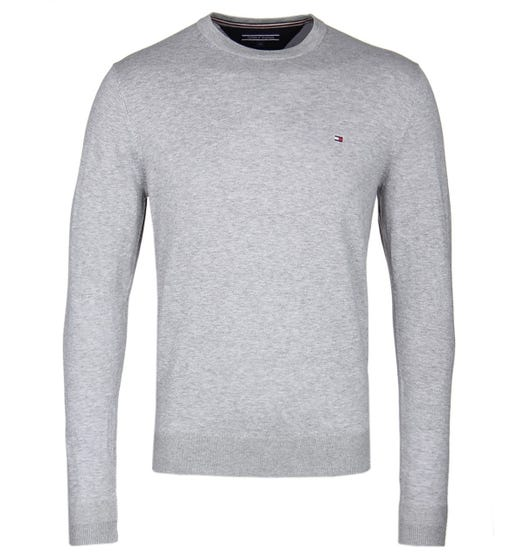 Tommy Hilfiger Grey Cotton Crew Neck Sweater