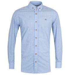 Vivienne Westwood Two Button Collar Krall Stripe Long Sleeve Blue Shirt