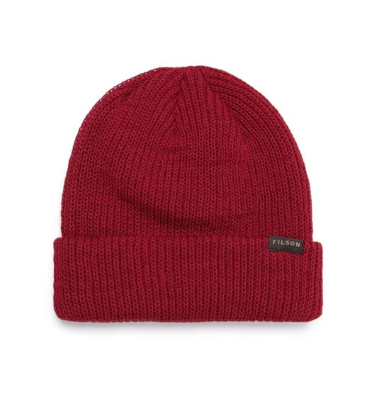 Filson Dark Red Ribbed Knit Woollen Beanie Hat