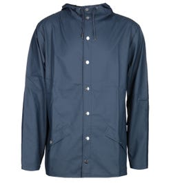 Rains Navy Blue Hooded Jacket
