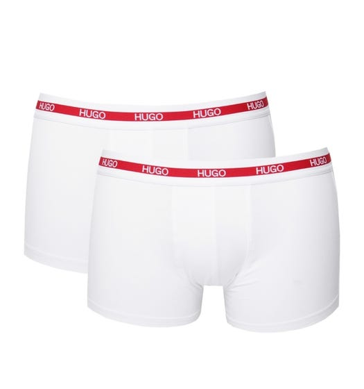 HUGO 2 Pack White Stretch Cotton Trunks