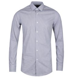 BOSS Herwing Striped Extra Slim Fit Black & White Stretch Shirt