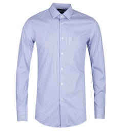 BOSS Herwing Striped Extra Slim Fit Stretch Blue & White Shirt