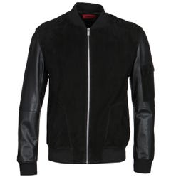 HUGO Lunis Black Leather Suede Bomber Jacket