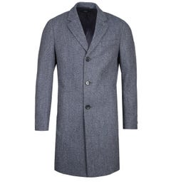 BOSS NYE2 Crombie Herringbone Navy Blue Overcoat