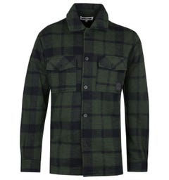 MCQ Alexander McQueen Chris Sage Green Check Fleece Overshirt