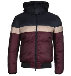 Emporio Armani Tri-Colour Hooded Burgundy Puffer Jacket
