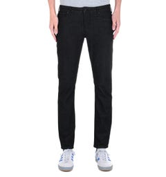 Emporio Armani Solid Black Tapered Fit 11OZ Denim Jeans