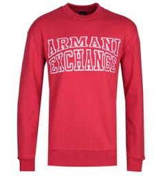 Armani Exchange Large Logo Crew Neck Red Sweatshirt