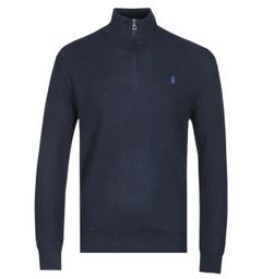 Polo Ralph Lauren Navy Zip Neck Pima Cotton Sweater