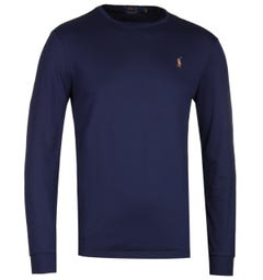 Polo Ralph Lauren Custom Slim Fit Long Sleeve Navy Pima T-Shirt