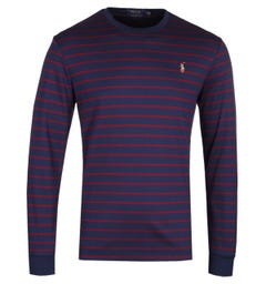 Polo Ralph Lauren Custom Slim Fit Long Sleeve Navy & Red Striped T-Shirt