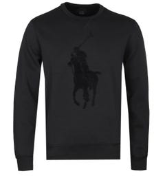 Polo Ralph Lauren Big Pony Tonal Logo Black Sweatshirt