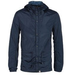 Pretty Green Zip Through Hooded Navy Jacket