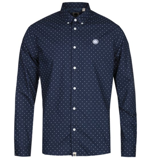 Pretty Green Slim Fit Navy Polka Dot Shirt