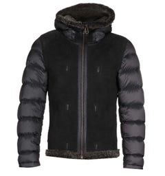 Ten C Hooded Shearling Black Jacket Liner