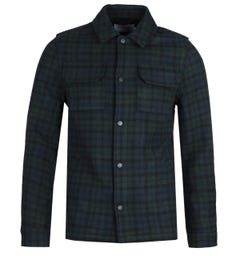 Farah Laurie Forest Green & Navy Check Overshirt