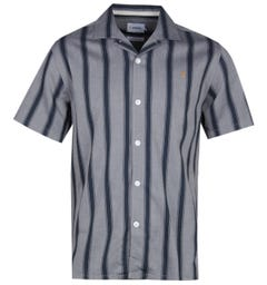 Farah Stripe Print Grey & Navy Short Sleeve Shirt