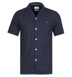 Farah Short Sleeve Casual Fit Navy Panama Shirt