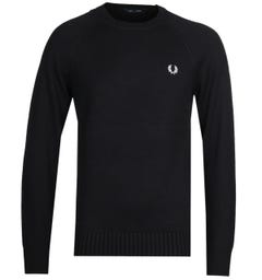 Fred Perry Contrast Texture Black Crew Neck Sweater