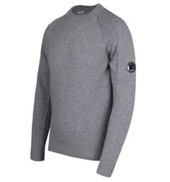 CP Company Arm Lens Grey Lambswool Sweater