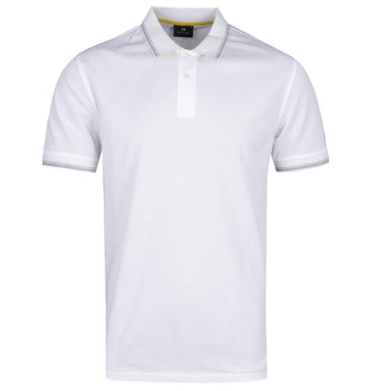 PS Paul Smith Regular Fit Stripe Tipped White Polo Shirt