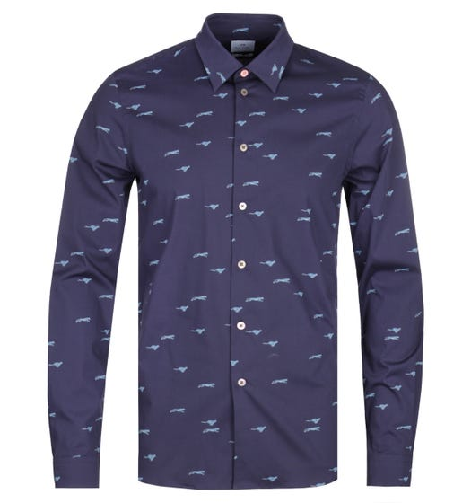 PS Paul Smith Long Sleeve Tailored Fit Navy Shirt