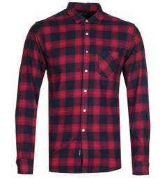 Replay Navy/Red Checked Shirt