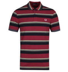 Fred Perry Contrast Stripe Burgundy Pique Polo Shirt