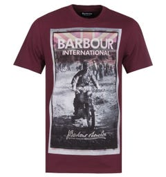 Barbour International Archive Biker Tailored Fit Berry Red T-Shirt