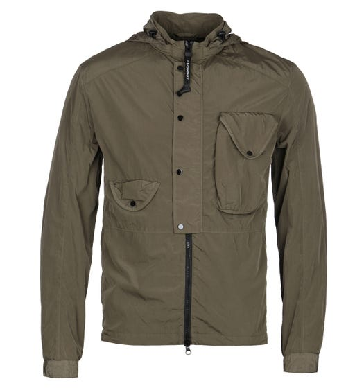 CP Company Hooded Button Front Chrome Khaki Overshirt