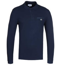 Lacoste Block Colour Chest Pocket Navy Polo Shirt