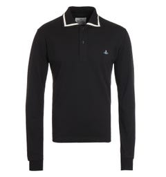 Vivienne Westwood Tipped Long Sleeve Black Polo Shirt