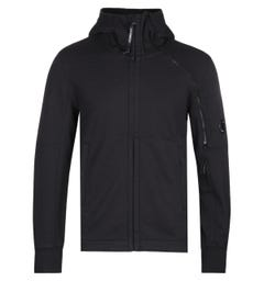 CP Company Zip Through Arm Lens Black Hoodie