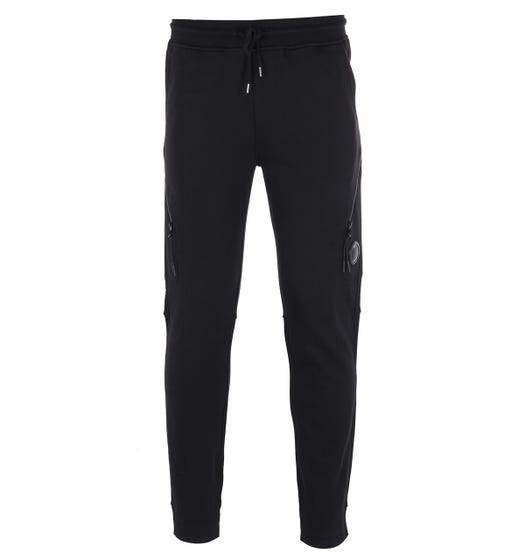 CP Company Diagonal Zip Black Tracksuit Bottoms
