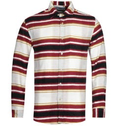 Portuguese Flannel Burgundy Stripe Shirt