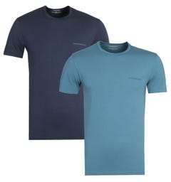 Emporio Armani Loungewear Blue 2 Pack Crew Neck T-Shirts