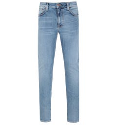 Nudie Jeans Co Lean Dean Broken City Washed Blue Denim Jeans