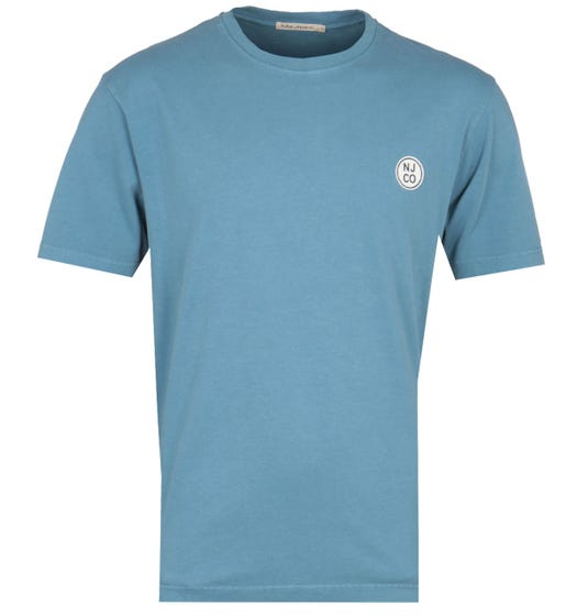 Nudie Jeans Co Cicle Logo Petrol Blue T-Shirt