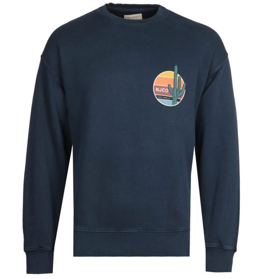 Nudie Jeans Co Lukas Cactus Navy Sweatshirt
